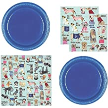 Dog Party Supplies for 20 Guests Includes Plastic Appetizer/Dessert Plates and Large DogF Theme Napkins