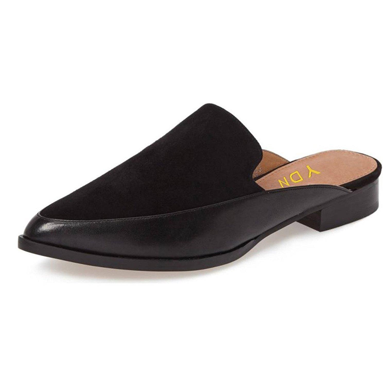 YDN Women Low Heels Mules Slip On Flats Loafers Pointy Toe Clogs Slide Slipper Shoes Black 6