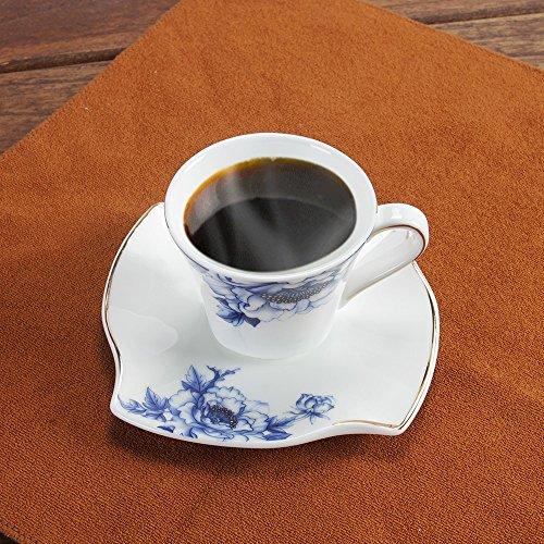 Porlien Porcelain 2.5-Ounce/80ml Small Espresso Cups Set of 4 with Saucers, Blue Floral Gold Trimmed by Porlien (Image #5)