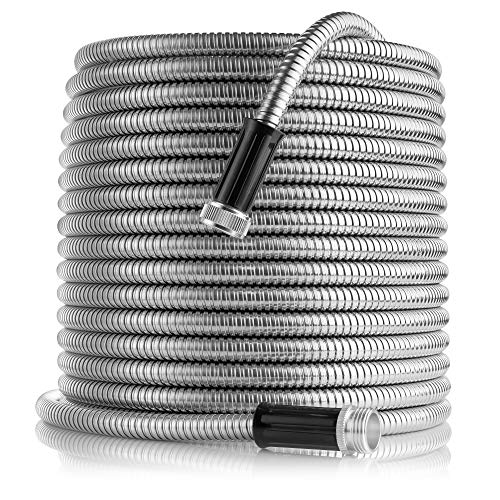 Tardigrade Steel Hose (50′) 304 Stainless Steel Garden Hose – Lightweight, Kink-Free, and Stronger Than Ever, Durable and Easy to Use