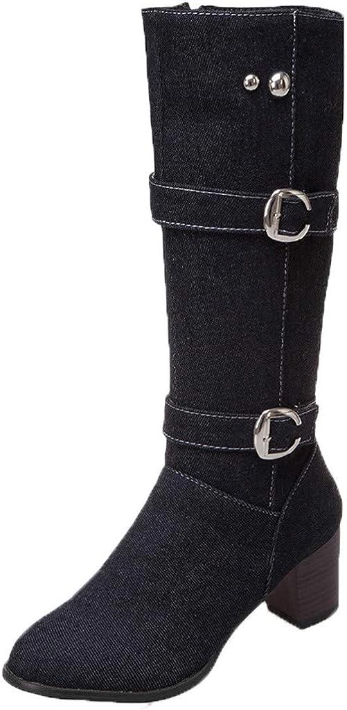 TWIFER Botas de Mujer Altas Cuero Otoño Invierno Largas Botas Antideslizante Cómodo Botas Altas de Anvierno para Mujeres Botas de Montar Impermeable