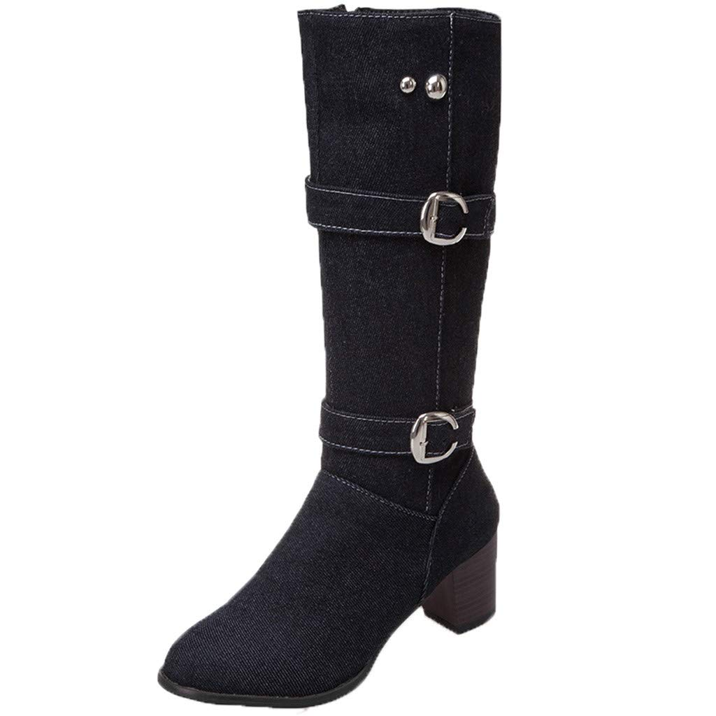 TIFENNY Long Tube Boots Denim Women's Warm Square Heel Shoes Casual Ankle Bootie Denim Fashion Boots Pointed Toe by TIFENNY_Shirts