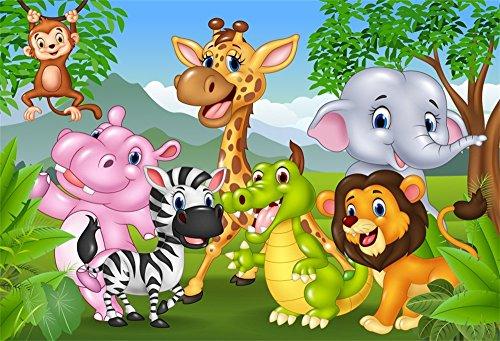 LFEEY 9x6ft Cute Cartoon Animals Zoo Photo Background