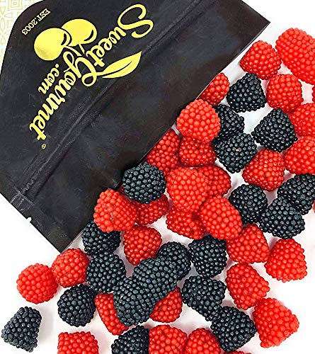 Haribo Black and Red Raspberry Gummi | Agar-Agar | Berry Gummy Candy Bulk | 2 pounds