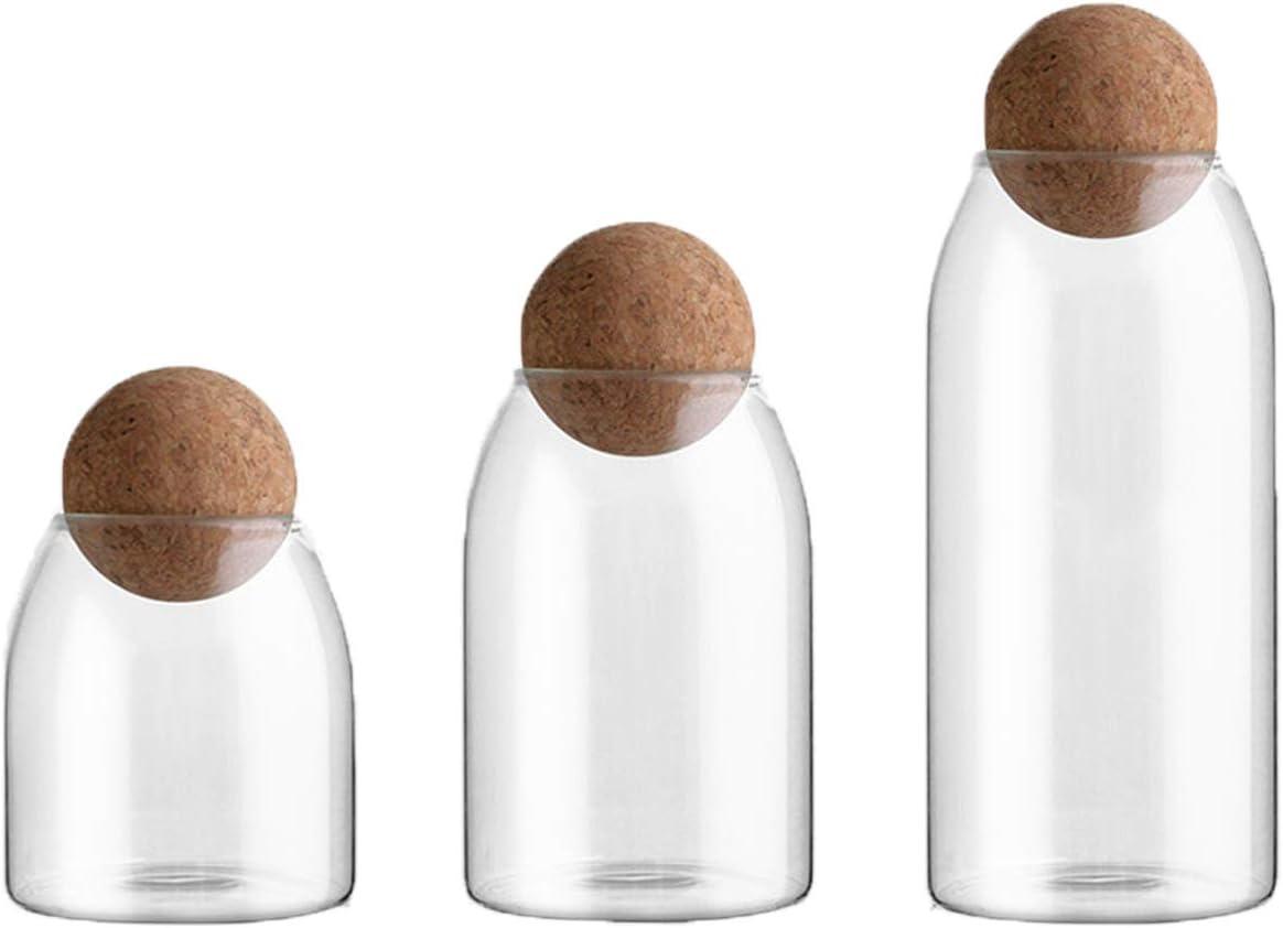 INSETLAN 3 Pcs/Set Glass Storage Jar with Airtight Seal Ball, Kitchen Pantry Organization Containers,Food Storage Jar Kitchen Storage Tool for Serving Coffee Tea Spice Sugar Salt Snack (Transparent)