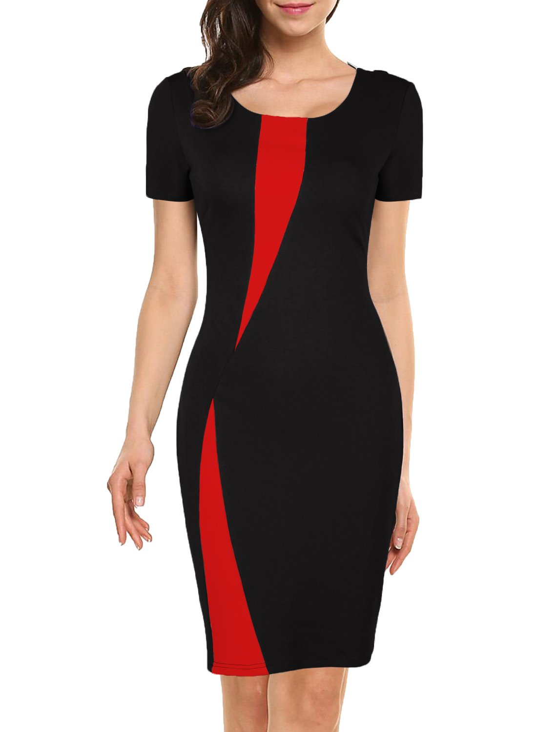 WOOSEA Women's Short Sleeve Colorblock Slim Bodycon Business Pencil Dress (X-Large, Black+Red)