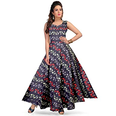 5ba2a5367a JWF Women's Rayon Jaipuri Printed Maxi Long Dress (Multicolour, Free Size):  Amazon.in: Clothing & Accessories