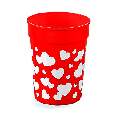 Fun Express Plastic Valentine Heart Tumblers (1 Dozen) Valentine's Day Party Supplies, Favor Cups, Red Plastic Cups: Toys & Games
