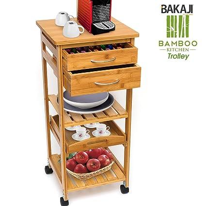 Bakaji Carrello Cucina in legno di Bambù con Ripiano Top Solido ...