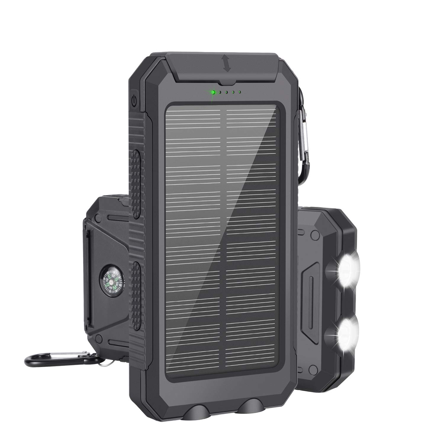 Solar Charger, 10000mAh Portable Waterproof Solar Power Bank, Dual USB External Backup Battery Pack with 2 Flashlights for Travelling, Hiking, Cellphone Charging by AUSEINS