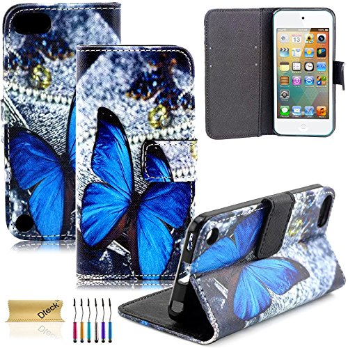 Touch Folio - iPod Touch 5 Case, iPod Touch 6 Case, Dteck(TM) Fancy Cute PU Leather Stand Wallet Type Magnet Case [Cards/Money Holder] Flip Fold Cover for Apple iPod Touch 5th 6th Gen 4 inch (3 Blue Butterfly)