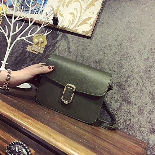 Verano nuevo señoras bolso bolsa cuadrada pequeña diagonal mochila, negro green
