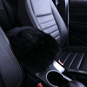 Silence Shopping Auto Center Console Pad,Furry Sheepskin Australian Wool Warm Winter Fluffy Elbow Cushion Comfort Soft Car Armrest Cover Protector Universal Fit (Black)
