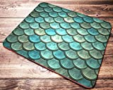Mermaid Scale Teal Mint Mouse Pad Fish Scales Pattern Mousepad Office Desk Accessories Decor Supplies Gifts for Women