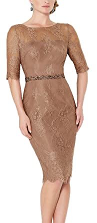 856038f4dcf OkayBridal Women s Half Sleeve Short Lace Grandmother of The Bride Dresses  Size 2 US Brown