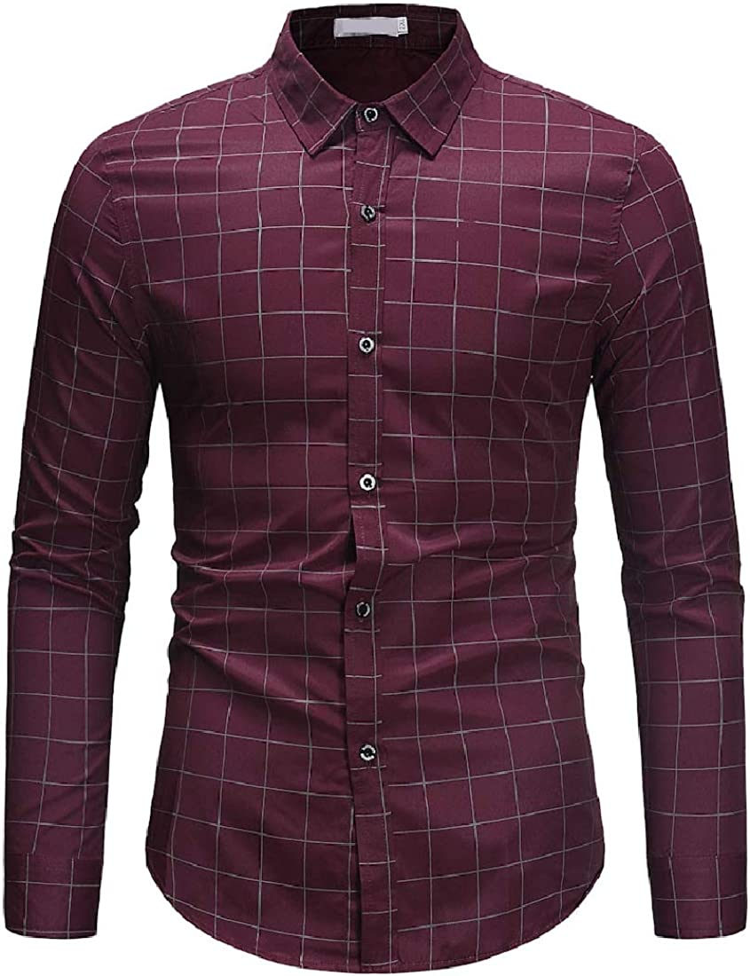 Winwinus Mens Plaid Silm Fit Plus-Size Square Collar Long Sleeve Work Shirt