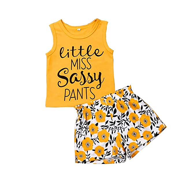 Mommy is My Bestie Tank Tops Floral Pants and Headband Outfit Haokaini Infant Baby Girl Vest Shorts Set