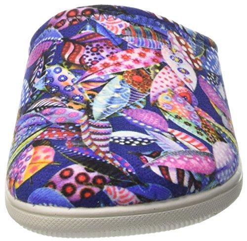 Multicolore INBLU Caviglia Blu Donna Pantofole Spugna Blupuff sulla Aperte 0wq0vFr
