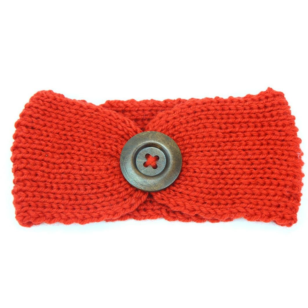 DaySeventh Baby Knitting Infant Kids Girl Button Headbands Head Wrap Knotted Hair Band (Orange)
