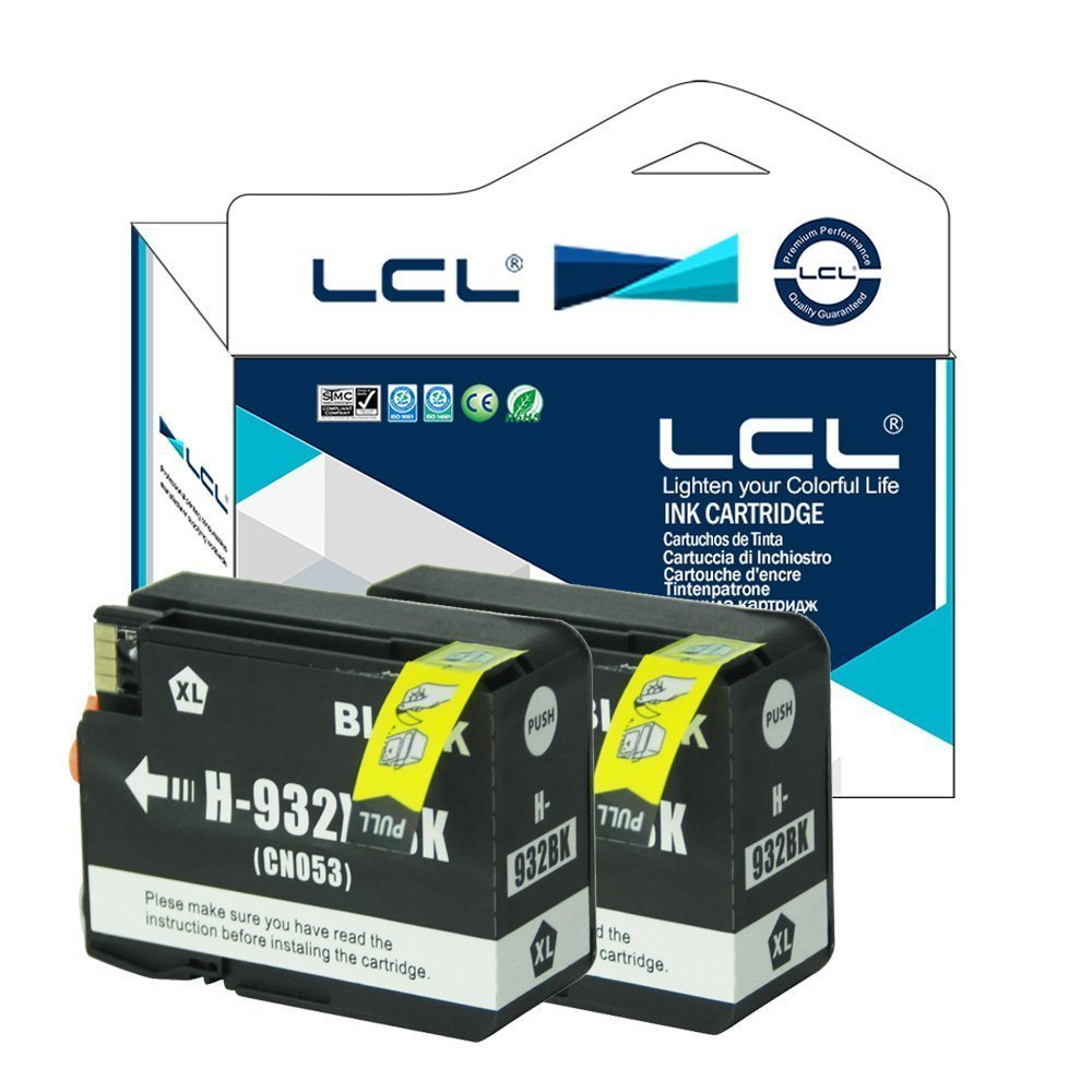 LCL Compatible for HP 932XL 933XL (4-Pack Black Cyan Magenta Yellow) Ink Cartridge for HP Officejet 6100/6600/6700/7110/7610/7612/7510/7512
