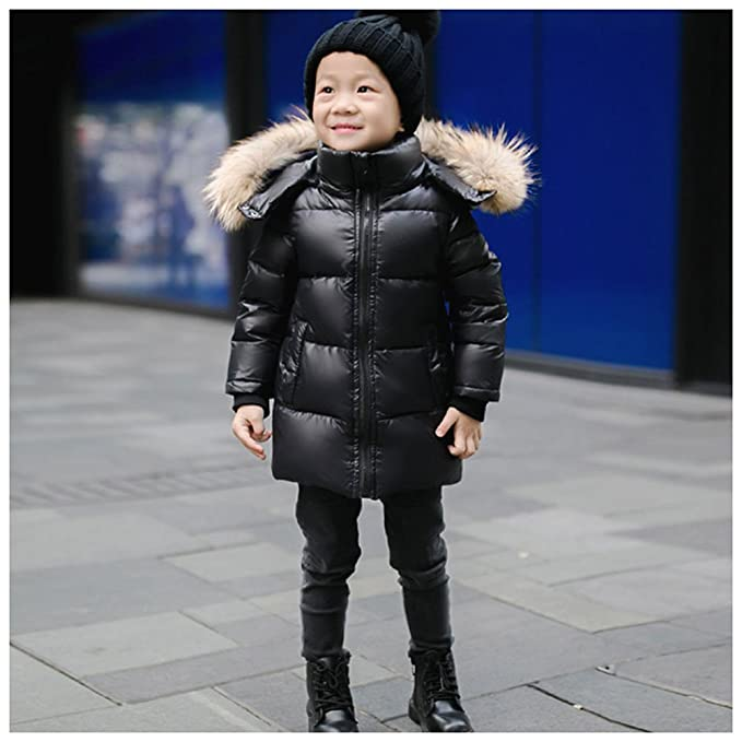 Amazon.com: LSERVER Little Big Girl Winter Parka Down Coat Puffer Jacket White Duck Down Padded Overcoat with Fur Hood: Clothing