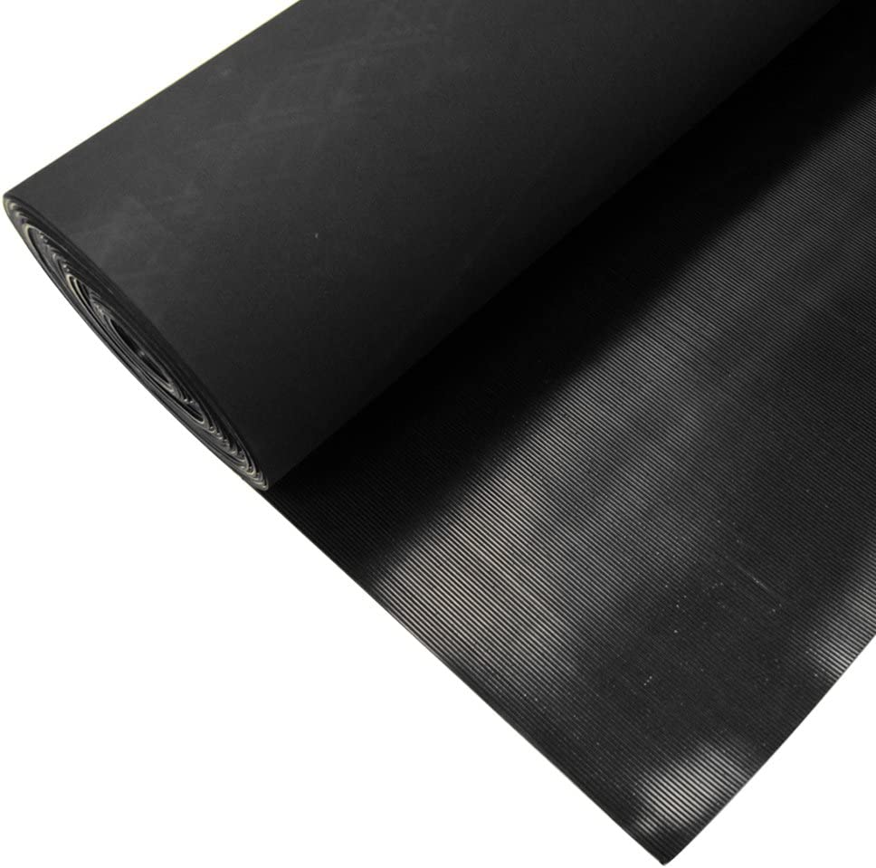 Rubber-Cal 03/_167/_W/_FR/_20 Fine Rib Corrugated Rubber Floor Mats 1//8 Thick x 3 x 20 Runners Black