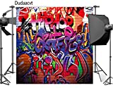 Dudaacvt 8x8 ft Photography Backdrop Hip Hop Graffiti Style Backdrop Vintage Colorful Background Q0140808
