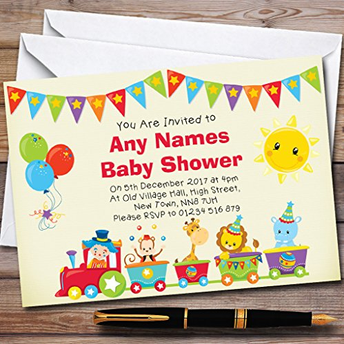 Circus Animal Train Invitations Baby Shower Invitations by The Card Zoo