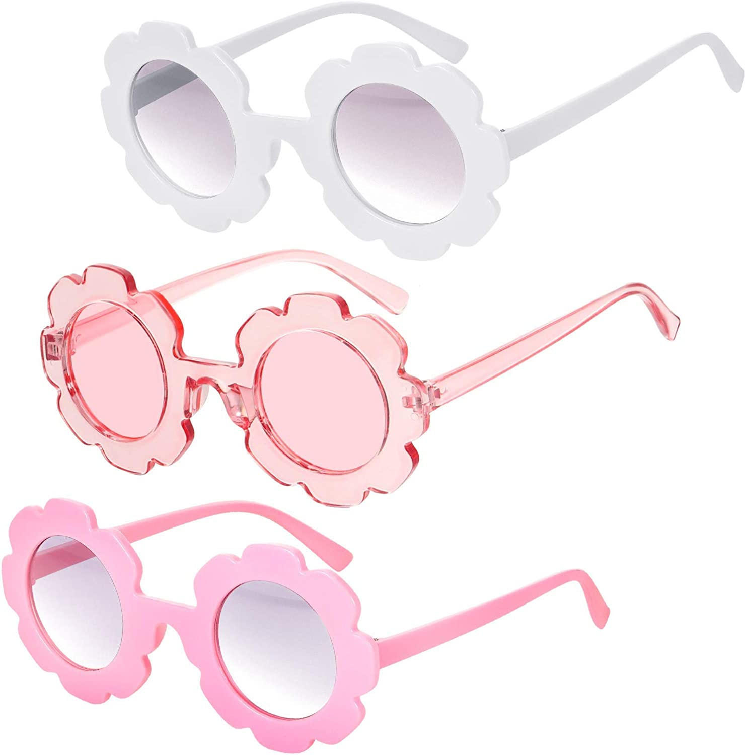 3 Pieces Round Flower Sunglasses Girls Flower Glasses Cute Outdoor...