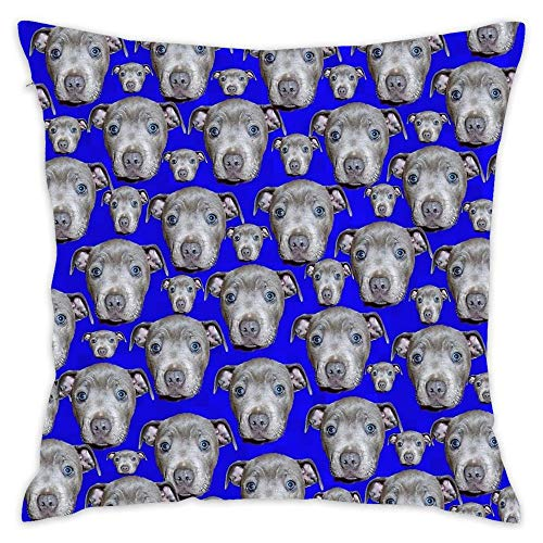 "Hsdfnmnsv Blue Staffordshire Bull Terrier Puppy Pattern Custom Cotton Linen Throw Pillow Case Cushion Cover New Home Decorative Square (18"" 18"")"