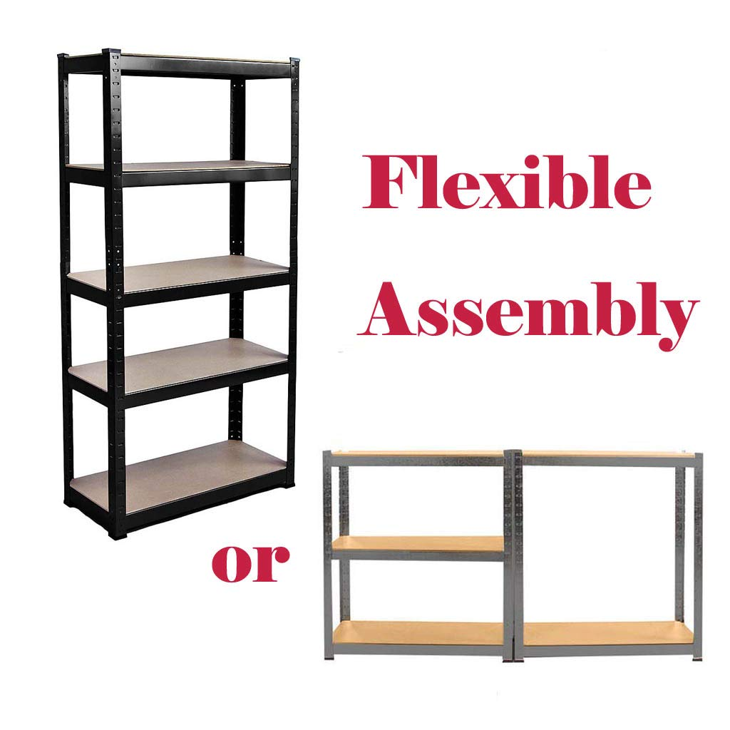150cm x 70cm x 30cm Bowose Galvanised Shelving Unit Heavy Duty Meal Garage Shed Racking for Storage