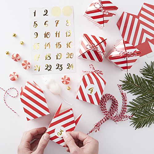 Ginger Ray Christmas DIY Make Your Own Advent Calendar Kit x 24 Boxes - Red & Gold RG-329