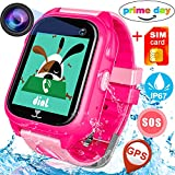 GBD Waterproof IP67 Kids Smart Watch Phone with FREE SIM Card GPS Tracker for Girls Boys with SOS Camera Pedometer Sport Fitness Tracker Anti-lost Wrist Watch Birthday Prime Gift (01 Waterproof Pink)