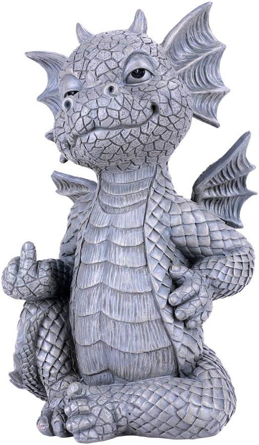 Pacific Giftware Garden Dragon Finger up Garden Display Decorative Accent Sculpture Stone Finish