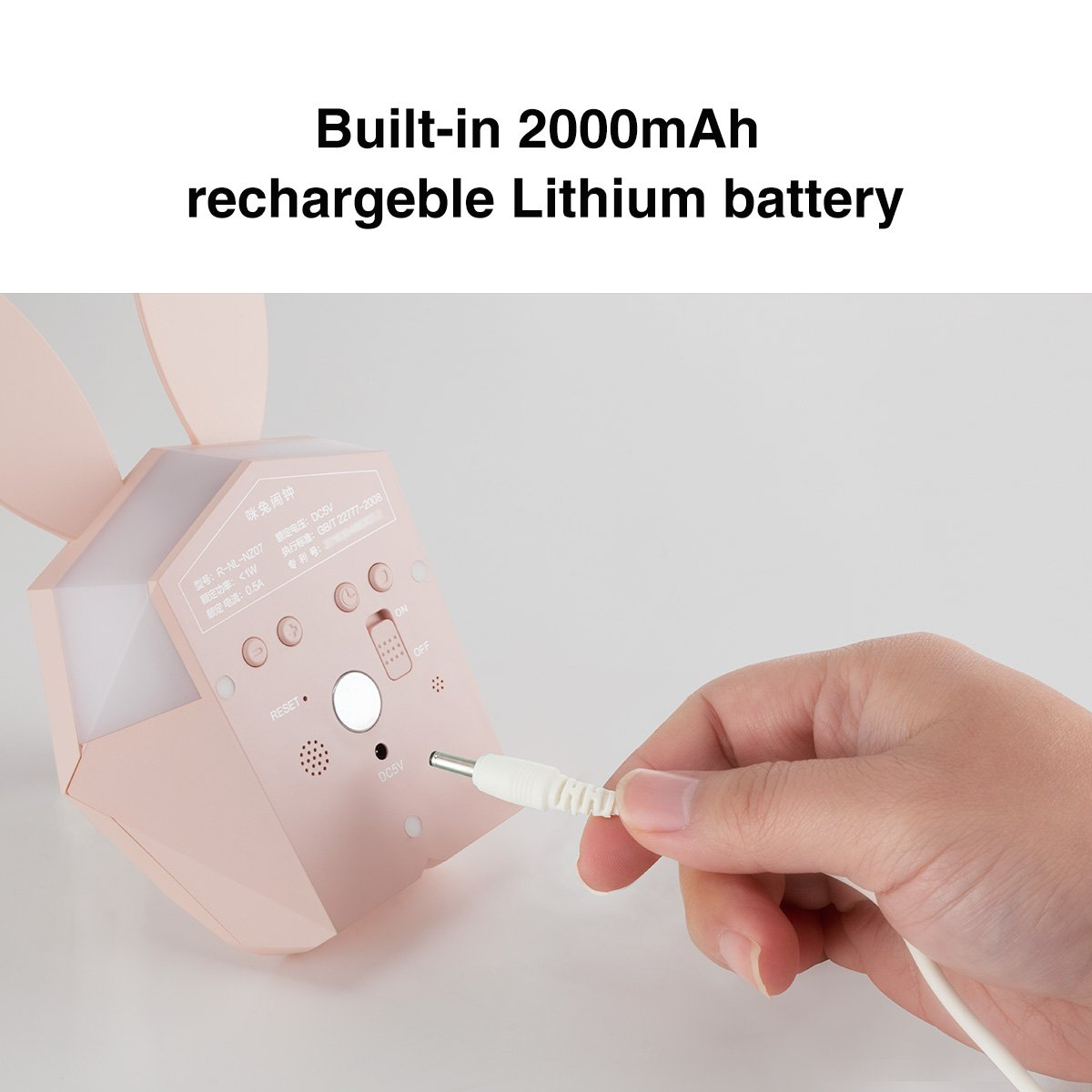 Amazon.com: HandAcc Digital Alarm Clock, Bunny Rabbit Voice-Activated LED Night Light Nursery Lamp with Temperature for Kids Room (Pink, Upgraded Version): ...