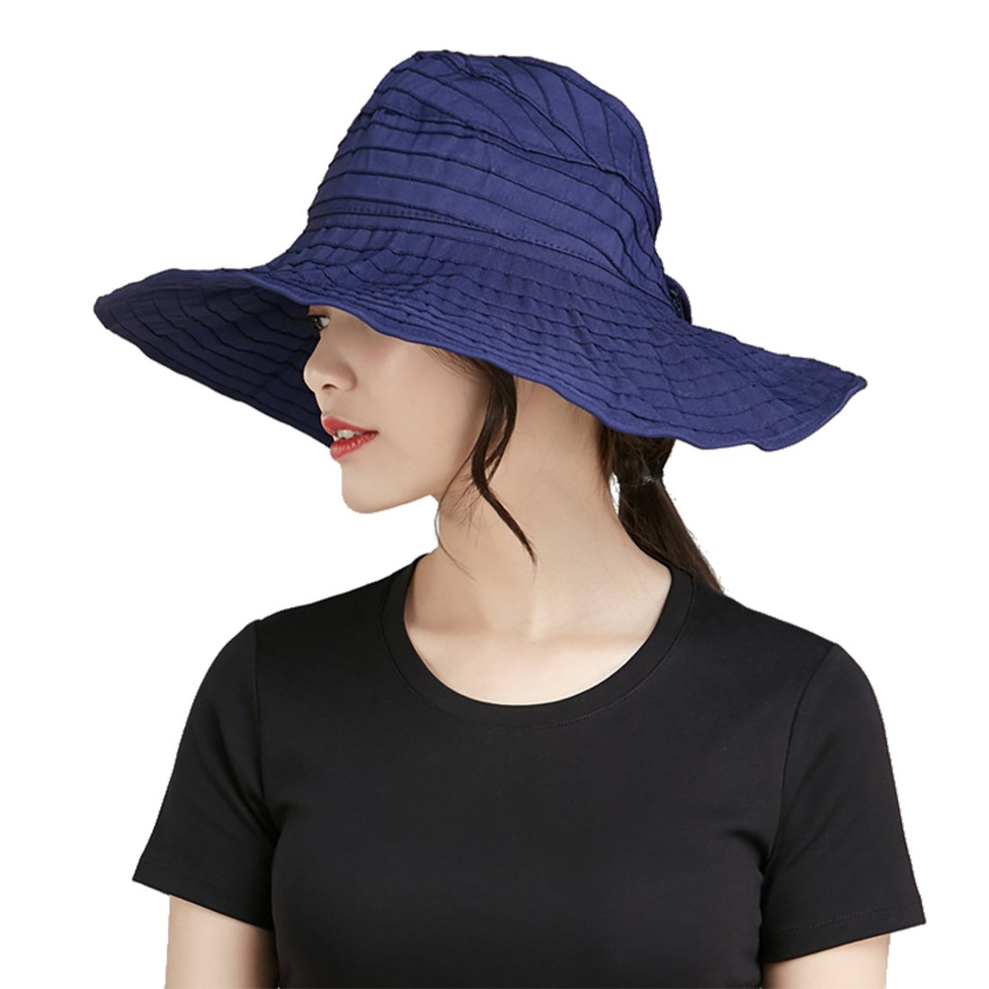 Womens Sun Hat SunJolly Portable Summer Wide Brim UV Protection Floppy Foldable Roll Up Beach Hat and 2PCS Parent-Child Hat for Travel (Kids, Navy)