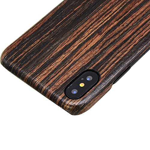 iphone X Wood Case,iPhone 10 wooden Case,SHOWKOO Slim Real Wooden Shockproof Protective iphone Cover for Apple 5.8 In iPhone X (Ebony) by Showkoo (Image #5)