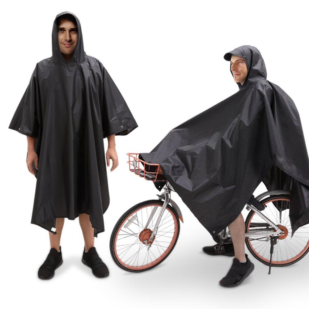 JTENG Poncho de Lluvia, Chubasquero de Lluvia, Impermeable, Reflectante, Impermeable y Resistente al Viento, para Senderismo, Acampada, Pesca, Trabillas de Mano para Bicicleta