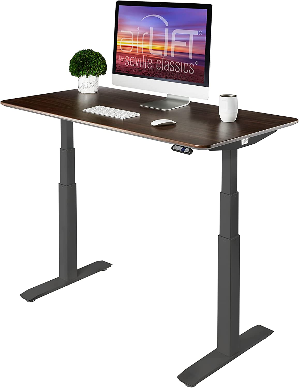 """Seville Classics AIRLIFT Pro S3 54"""" Solid-Top Commercial-Grade Electric Adjustable Standing Desk"""