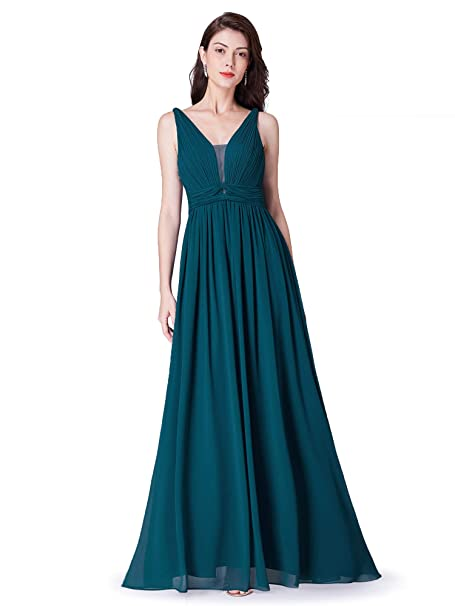 84abb05a8b84 Ever Pretty Womens Elegant V Neck A line Floor Length Empire Waist Long  Chiffon Bridesmaid Dresses 07499: Amazon.co.uk: Clothing