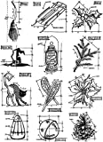 Stampers Anonymous Tim Holtz Cling Rubber Stamp Set, 7 by 8.5, Inch, Mini Blueprints #7