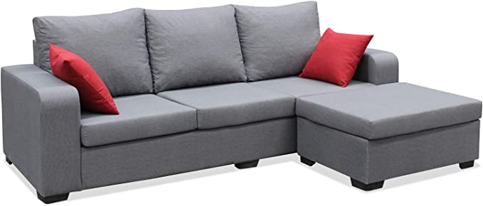 Muebles Baratos Sofa de Salon Moderno, Color Gris, 3 plazas, MONTADO, ref-54: Amazon.es: Hogar