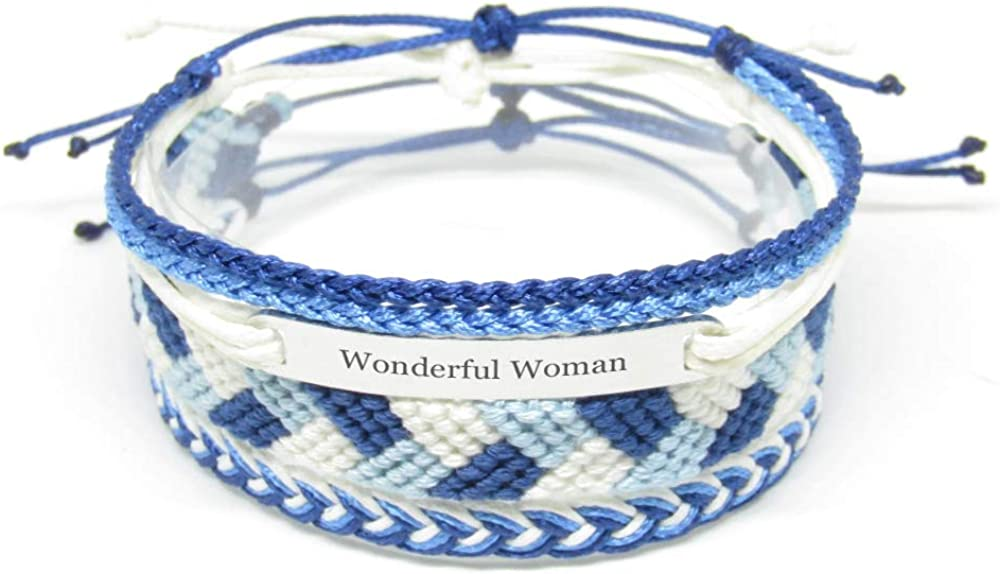 Wonderful Woman Miiras Family Engraved Handmade Bracelet Blue Made of Embroidery Thread and Stainless Steel Gift for Woman