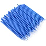 200pcs Eyelash Extension Microbrush Disposable Tattoo Makeup Brushes Cotton Swabs Stick with Plastic Handle, Blue