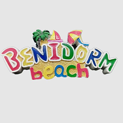 MUYU Magnet Imán para Nevera con Vista a la Playa de Benidorm en 3D, decoración de hogar y Cocina, Adhesivo magnético de polirresina Benidorm España, imán para Nevera, Regalo de Recuerdo turístico: