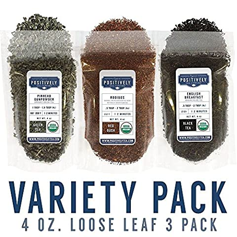 Organic Loose Leaf Tea Variety Pack, 3 - 4 oz. Bags, Positively Tea LLC. - Loose Forms Pack
