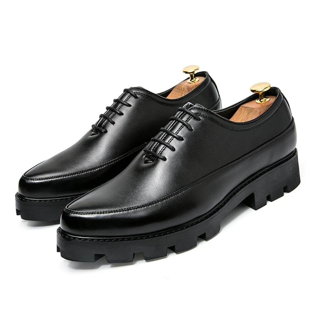 Hishoes Dress Wedding Breathable Fashion Loafers for Men PU Leather Business Casual Shoes Anti-Slip Platform Lace Up Pointed Toe Anti-Slip Color : Black, Size : 8 M US