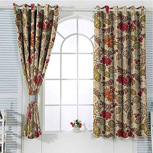 FreeKite Rowan Patio Door Curtains for Bedroom Fall Season Themed Mixed Pattern with Maple Birch Oak Autumn Leaves and Ashberries Thermal Insulated Noise Reducing W107 x L107 Inch Multicolor (External Patio Doors Oak)