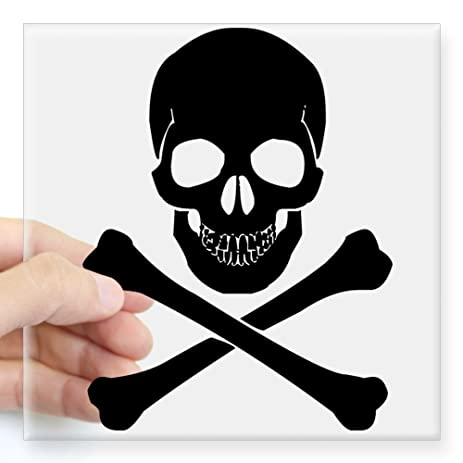 Cafepress skull and crossbones sticker square bumper sticker car decal 3x3quot