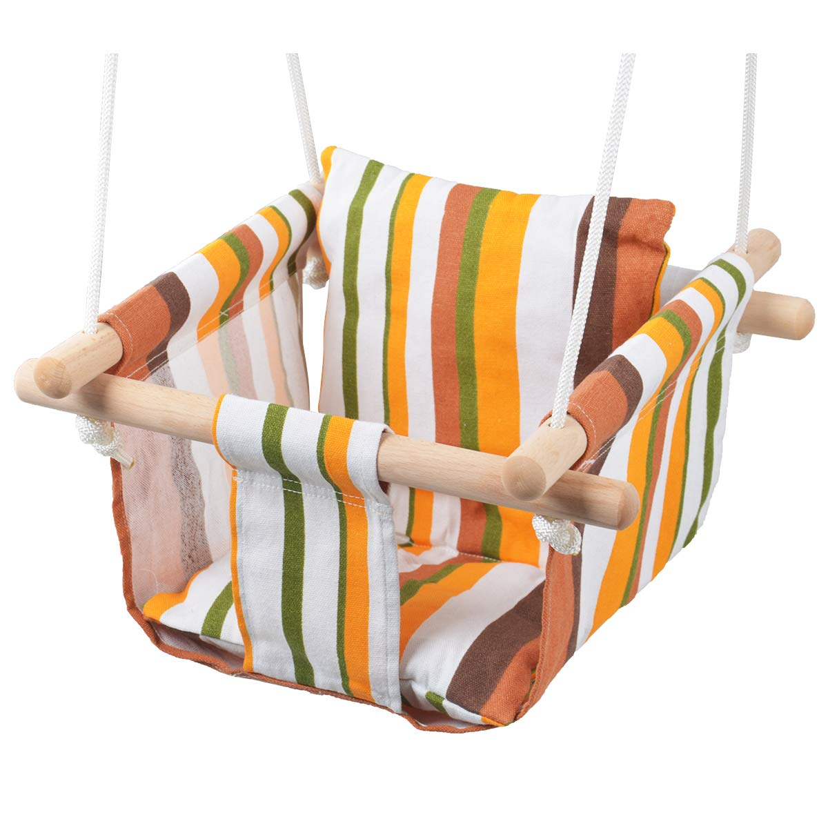 Installation Accessories Included Toddler Baby Hanging Swing Seat Secure Canvas Hammock Chair White//Yellow//Green Stripes